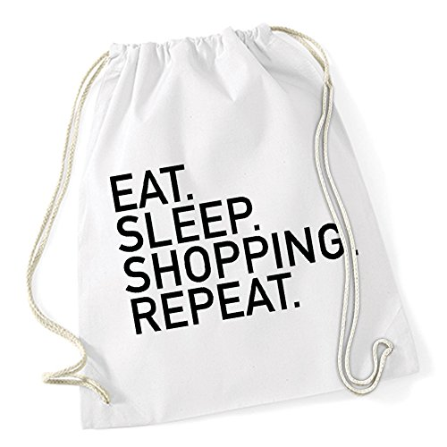 Certified Freak Eat Sleep Shopping Repeat Gymsack White (Sex In The City Schuhe)