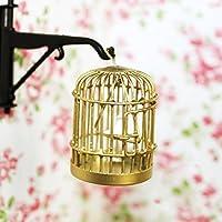 1/12 Dollhouse Mínima Jaula De Metal De Color Oro Con Pájaro De plástico