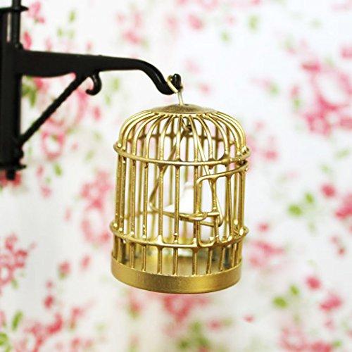 1:12 Metall Vogelkäfig mit Vogel Vogeldollhouse Miniatur Gold-Ton -