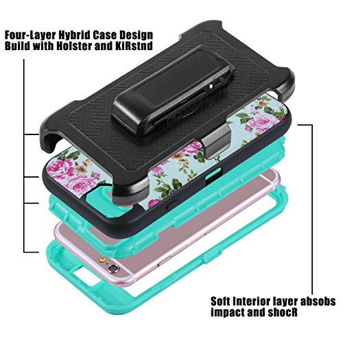 "HYAIT® For APPLE IPHONE 6 4.7"" Case[IMD][FLOWER][Holder] TPU+PC Premium Hybrid Shockproof Kickst Bumper Full-body Rugged Dual Layer Stents Cover-BLUE IPHONE 6 4.7-IMD-FLOWER-ROSE"