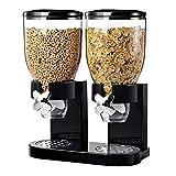 Keraiz Doppel-Müslispender, luftdichter Küchenbehälter für Haferflocken/Cornflakes/Nüsse Schwarz