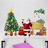 Decorativo Dipinto Albero di Natale Adesivo Murale di Babbo Natale, Soggiorno Camera da Letto Sfondo Murale Rimovibile,Babbo Natale,A