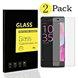 [2-Pack] Sony Xperia XA Screen Protectors , MENGGOOD Tempered Glass Protective Films Invisible Transparent Crystal Clear Protection Display Shield for Sony Xperia XA - 9H Hardness