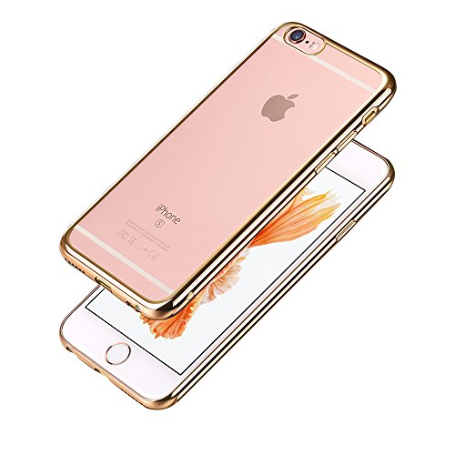 Minto iPhone 6 Plus/ 6s Plus Hülle, 0.8mm Ultradünne mit Überzug Farbig Rahmen Silber TPU Schutzhülle Weiche Silikon Transparent Case Cover für iPhone 6 Plus / 6S Plus Gold -i6 plus