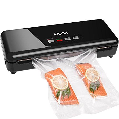 Aicok Macchine Sottovuoto per Alimenti, Macchine Sigillatrici Automatica / Manuale, per il Cibo Secco / Umido, Taglierina e Rullo, Colore Nero