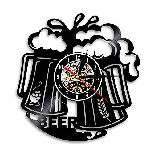 llsmting Wanduhren,Uhren Bier Zeit Schallplatte Pub Bar Wirtshaus Barkeeper Brauerei Moderne Prost Alkohol Alkohol Ale Getränk Ideal Für Jeden Raum In Der Küche Zu Hause