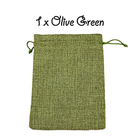 1 x Olive Green Drawstring Strong Jute Burlap Hessian Wedding Pouches Favour Bags Jewellery Pouch 10 x 14 cm