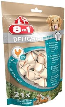 8in1 Delights Dental XS - Os à Mâcher Enrichi en Minéraux pour Chiens de Petites Tailles - Renforce la santé des dents et combat le tartre - Sans colorant ni arôme artificiel -  21 pièces