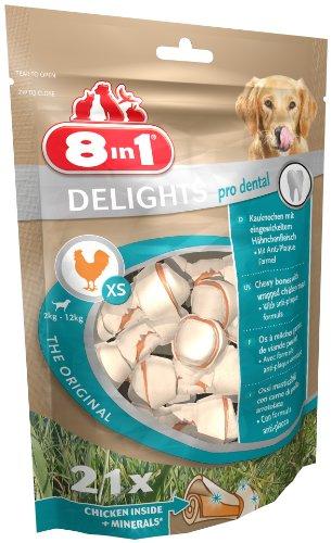 8in1 Delights Pro Dental Kauknochen Größe XS (funktionaler und gesunder Kausnack, Mineralien zur effektiven Plaqueentfernung bei kleineren Hunden von 12 bis 35 kg), 21 Stück (252 g Beutel)