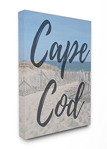 Cape Cod Strände (Stupell Industries Cape Cod Strand Typografie modernen Oversized gedehnt Art Wand, Stolz Made in USA, Leinwand, Mehrfarbig, 60,96 x 3,81 x 76,2 cm)