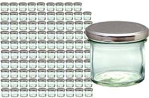 100er Set Sturzglas 125 ml Marmeladenglas Einmachglas Einweckglas To 66 silberner Deckel incl. Diamant-Zucker Gelierzauber Rezeptheft
