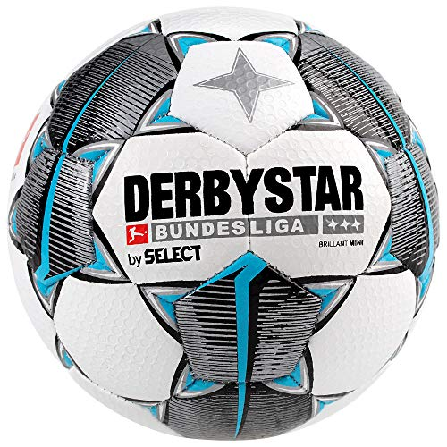 Derbystar Bundesliga Brillant Mini Fußball, Weiss schwarz Petrol, 47 cm