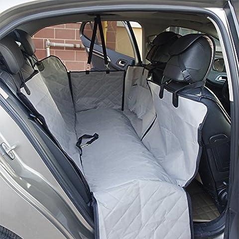 Chien de voiture Housse de siège imperméable Semelle antidérapante avec chevilles pour SUV Camion Voiture Siège arrière Hamac avec des ancrages de siège et ceinture de sécurité, 140cm × 149,9cm × 45cm Gris