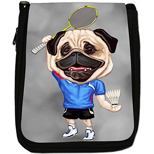 Pug-Athlete Rugby-Pallone da calcio, Tennis-Borsa a tracolla in tela, colore: nero, taglia: M Nero (Badminton Pug With Shuttlecock)