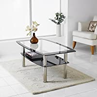 Neotechs® Modern Black & Clear Glass Chrome Living Room Coffee Table with Lower Shelf
