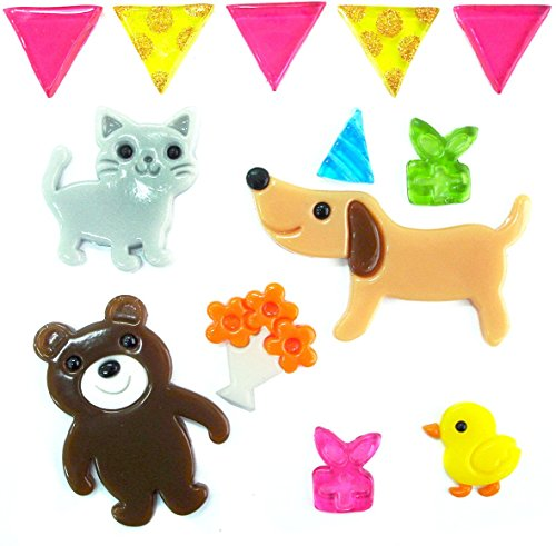 Outlook Design Gel Gems Sacchetto Small Party Animals, Polimero Morbido Totalmente Atossico, Multicolore, 20.00 x 20.00 x 1.00 cm