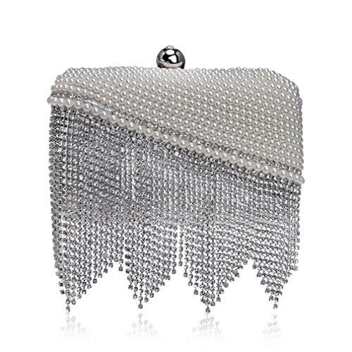 YAN Frauen Satin Plissee Clutch Bag, Quaste zeitlosen Strass Abend Handtasche Schultertasche für Party, Hochzeit & Clubs (Color : Silber) (Plissee-clutch)