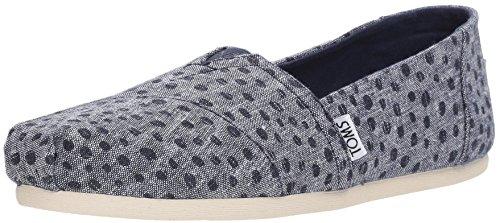 TOMS Classic Navy Slub Chambray Dots Womens Espadrilles Shoes -