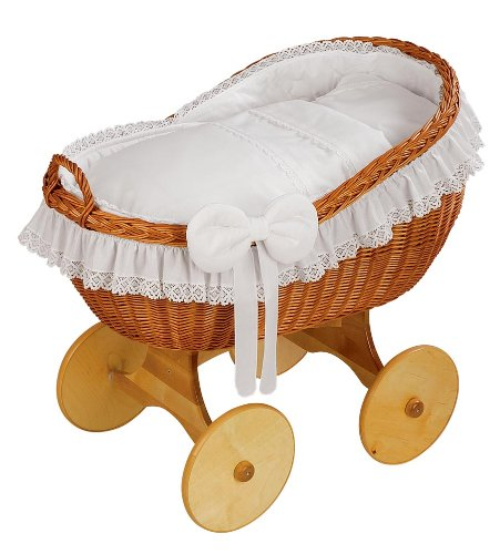 """Brand New Wicker Crib Moses Basket Bassinet """"BIANCA WHITE""""  Solid, Large wicker crib INCL. MATTRESS AND BEDDING Handmade nature wicker basket 1"""