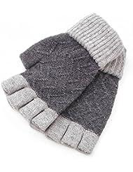 Medio parejas de guantes sin dedos de Cachemira más guantes de calientes manejar la pantalla táctil (2 doble 1 combinación colores aleatorios)