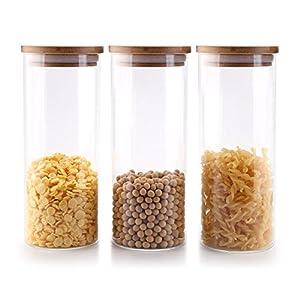 T4U 1000ml Glasbehälter Φ8cm Vorratdosen Vorratsglas aus Borosilikatglas mit Bambus-Deckel, geeignet für Lebensmittel, 3er Set
