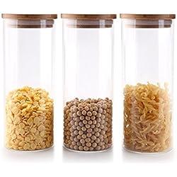 Rachel's 1000ML Verre à Haute Teneur en Borosilicate Cylindre Récipient de Stockage de Nourriture Hermétique Canister Jar avec Couvercle en Bambou & Rondelle d'étanchéité en Silicone, Paquet de 3