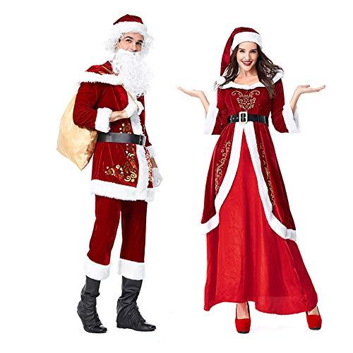FAFY Weihnachtskostüm Weihnachtsmann Kostüm Weihnachten Cosplay Herren Damen Kostüm Outfits Überschuh,Ms-M