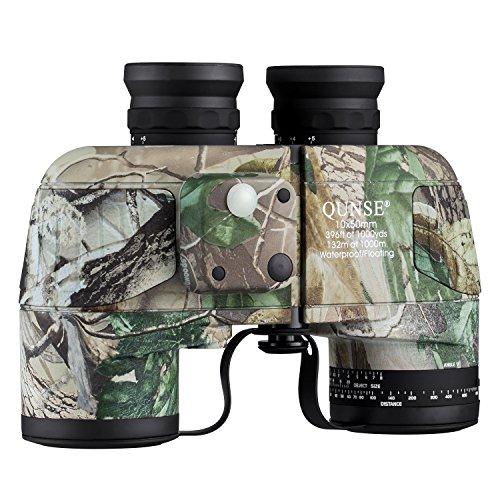 qunse prismáticos militar prismáticos 10x 50con telémetro y brújula, apto para, caza de aves y viajar (10x 50, Ejército)