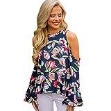 TianWlio Damen Langarmshirt Bluse T-Shirt Tops Mode Frauen Lässige Blume O-Ausschnitt Tops Lange Ärmel Glockenhülse Sweatshirt T Shirt Bluse