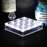 LACGO Quadratisch Deckenfluter Lampe batteriebetrieben Ständer Light 16LEDs Base Vase Licht für Vase Tisch Mittelpunkt Dekoration (großes Quadratisch weiß)