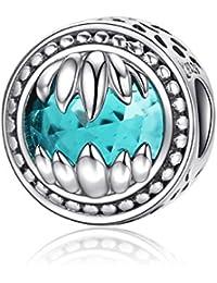 Bamoer Animal Monstruo Bestia 925plata de ley Guardian piedras de cristal verde cuentas colgantes para pulsera