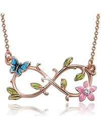 """Angelady """"Sei mit dir für immer"""" Infinity Anhänger Halskette mit Blume und Schmetterling, Kristall von Swarovski, Bestes Geschenk"""