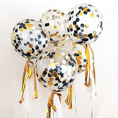 yunnuopromi 10030,5cm Konfetti klar Luftballons, Halloween Geburtstag Baby Dusche Hochzeit Party Supplies gold