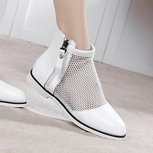 KHSKX-Herbst Gaze Schuhe Mit Niedrigen 2Cm Stiefel Hohle Weibliche Atmungsaktives Mesh Weiße Tennisschuhe Stiefel 39