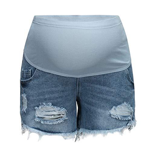 QinMMROPA Premamá Pantalones Cortos Rotos para Embarazadas Maternidad Mujer Cintura Alta Premama Vaqueros Cortos Jeans Denim Shorts Negro L