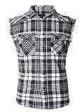 Nutexrol Herren Ärmelloses Kariertes Oversize Hemd Freizeithemd Sleeveless Shirt 3XL