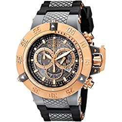 Invicta Men's Quartz Watch with Blue Dial Chronograph Display and Black Plastic Strap 932