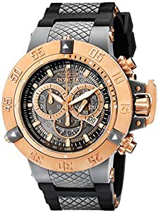 Invicta Subaqua Men's Quartz Watch with Grey Transparant Dial Chronograph Display and Black PU Strap 0932