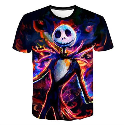Männer Frühling Sommer Männer T-Shirts 3D Gedruckt Tier t-Shirt Kurzarm Lustige Design Casual Tops Tees Männlich,Halloween Puppe Farbe 2XL