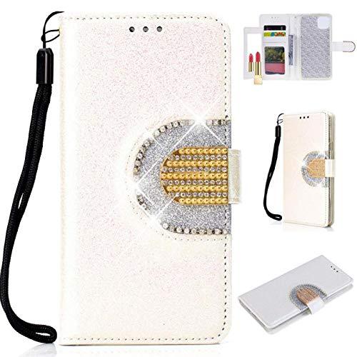 Bookstyle Bling Hülle für Huawei P30 Pro,Glitter Diamond Musterg Slim Klassisch Modisch Leder Stand Funktion Kartenfach Magnetverschluss Flip Wallet