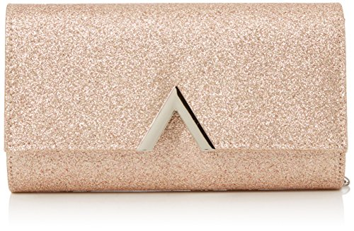 QUIZ Damen Glitter Metal Trim Bag Clutch, Pink (Rose Gold), 3x12x21 centimeters -