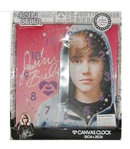 Justin Bieber toile rose Horloge murale