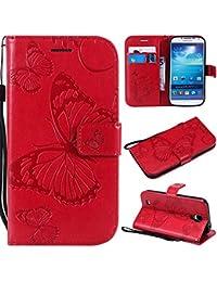 BoxTii Galaxy S4 Lederhülle, Kratzfeste Schutzhülle [mit Frei Panzerglas Displayschutzfolie] Karte Halter Hülle Etui für Samsung Galaxy S4 (#6 Rot)