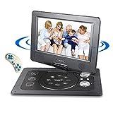 10,1'' Tragbarer DVD-Player mit 5 Stunden Akku Drehbarem Display,Unterstützt SD-Karte USB AV OUT/IN mit 1.8M Auto-Ladegerät und Stromadapter (Schwarz)