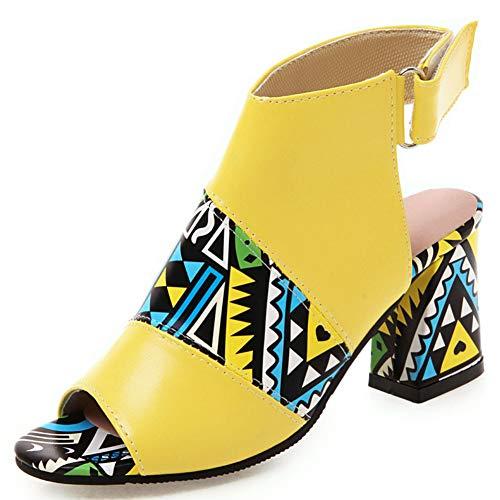 DoraTasia Frauen Open Toe Chunky Heel Sandalen Sommer Knöchel Schnalle Booties aus weichem Leder Slingback Kleid Schuhe drucken Obermaterial Open Toe Ankle Wrap Strappy