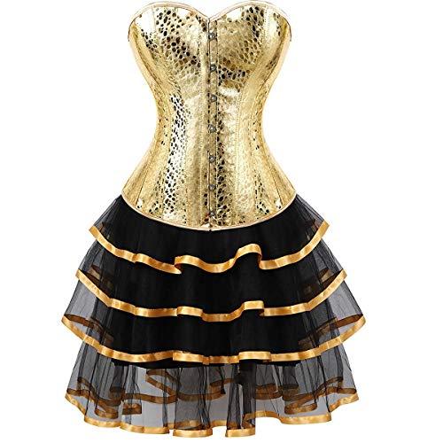 Leder Korsett Kleider Corsage Tutu korsettkleid Rock Spitze Burlesque große größen Damen Gold S