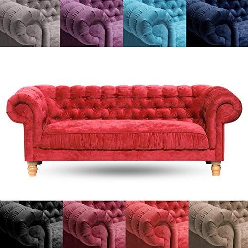 DESIGN DELIGHTS Designer Kuschel Sofa New Chesterfield Samt 3ER | Samtbezug, 215cm, Dreisitzer Couch,