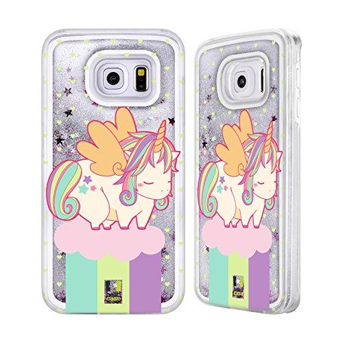 Head Case Designs Printemps Licornes Fantaisistes Collection Potelée Étui Coque Liquide Scintillez Argent pour Apple iPhone 5c Été