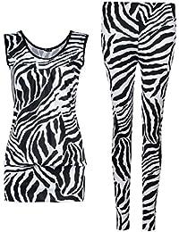 Fast Fashion - 2 Pièces Ens Sans Manches Imprimé Zèbre Haut Leggings - Femmes