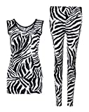 Fast Fashion Damen 2 teiliges Set Zebra Druck Ärmelloses Top Leggings
